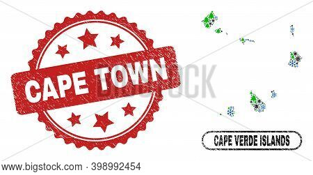 Vector Pandemic Christmas Collage Cape Verde Islands Map And Cape Town Dirty Stamp. Cape Town Stamp