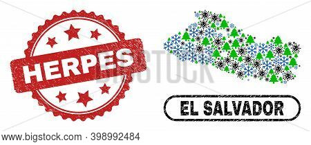 Vector Covid-2019 New Year Mosaic El Salvador Map And Herpes Dirty Stamp Seal. Herpes Seal Uses Rose