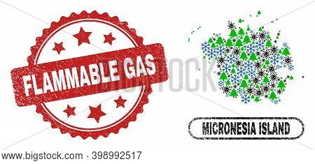 Vector Covid-2019 New Year Mosaic Micronesia Island Map And Flammable Gas Dirty Seal. Flammable Gas