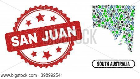 Vector Covid-2019 Winter Combination South Australia Map And San Juan Textured Stamp. San Juan Stamp