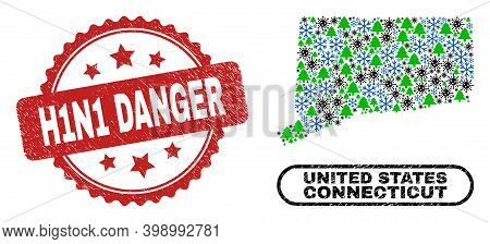 Vector Covid New Year Combination Connecticut State Map And H1n1 Danger Corroded Stamp Print. H1n1 D