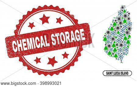Vector Covid-2019 New Year Combination Saint Lucia Island Map And Chemical Storage Corroded Stamp. C