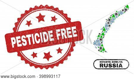 Vector Pandemic New Year Mosaic Novaya Zemlya Islands Map And Pesticide Free Dirty Stamp Seal. Pesti