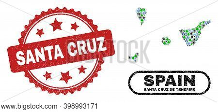 Vector Covid-2019 New Year Collage Santa Cruz De Tenerife Province Map And Santa Cruz Grunge Stamp P