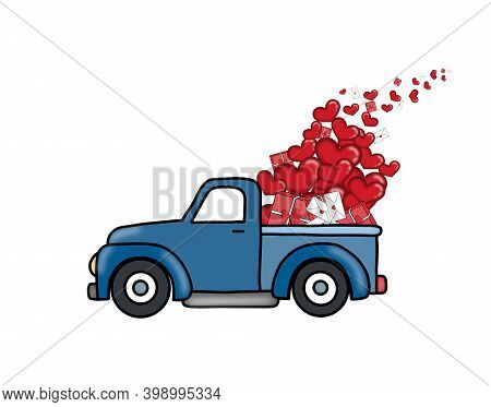 St. Valentine Illustration Red Car With Heart Balloons, Letters, Present. Blue And Red Car With Symb