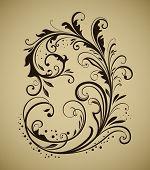 Vintage floral design element isolated on beige background. poster