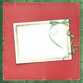 Framework for a photo or invitations. green bow. beautiful background. poster