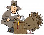 This illustration depicts a Pilgrim about to chop the head off of the Thanksgiving turkey. poster