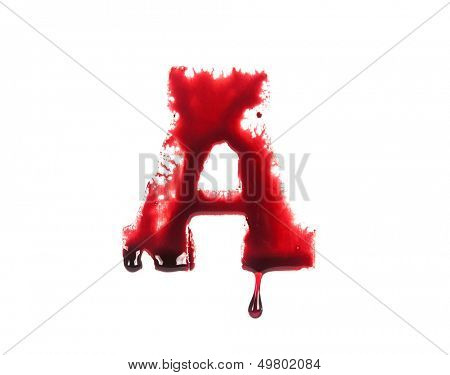 Blood fonts with dripping blood, the letter A poster