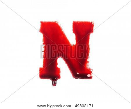 Blood fonts with dripping blood, the letter N poster