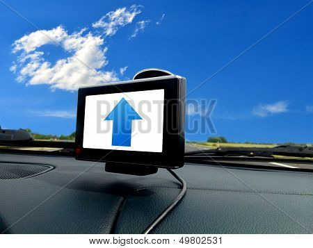 Blue Forward Arrow On Gps System