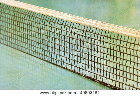 Tennis Field And A Tennis Net.