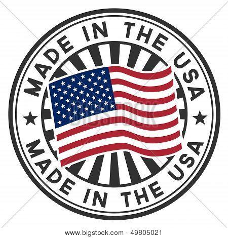 Selo com a bandeira dos EUA. Feito nos EUA.