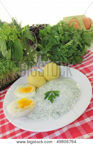Frankfurt green sauce with halved boiled eggs poster
