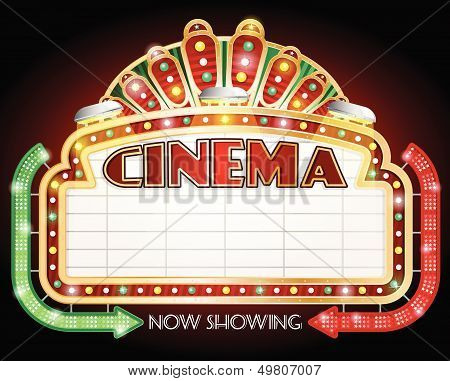 Cinema sign with two arrows.
