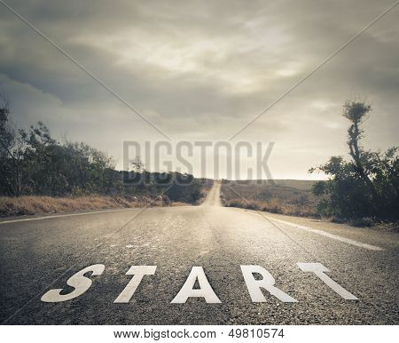 deserted street with written starting