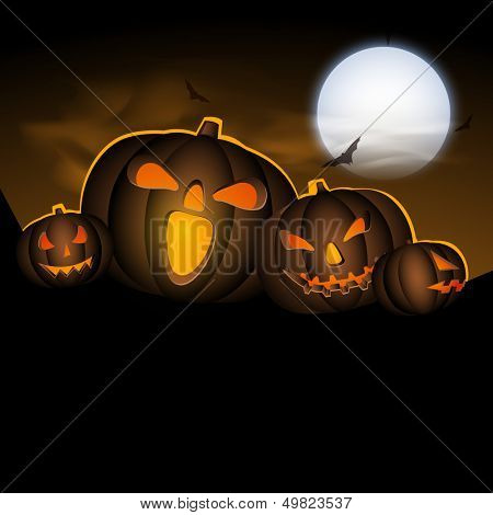 Halloween moonlight night background with scary pumpkins,  can be use as flyer, banner or poster for trick or treat party.