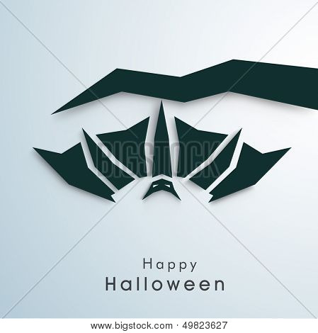 Happy Halloween poster, banner or flyer with hanging bat from tree branch on blue background.