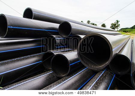 HDPE pipe for water supply at construction site