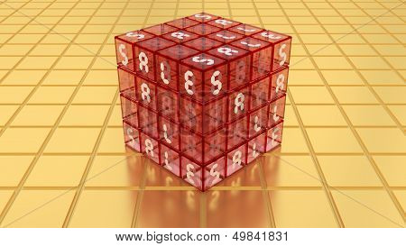 Sale Red Glass Magic Cube Box On Golden Floor
