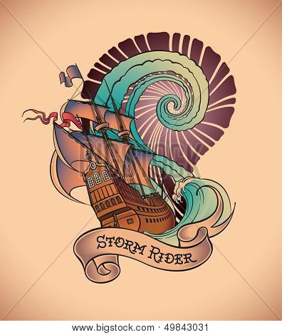 Old-school styled tattoo of a galleon on the background of a great water swirl. Raster image. Check my portfolio for an editable version.