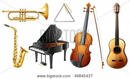 Illustration of the set of musical instruments on a white background