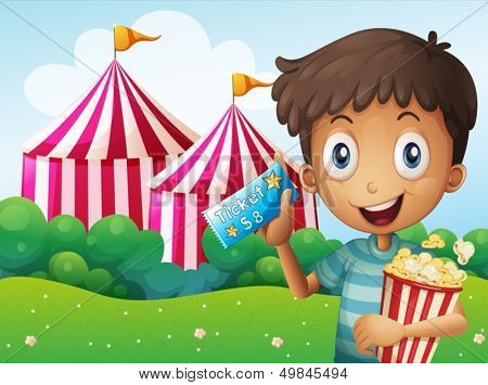 Illustration of a boy holding a ticket and a pail of popcorn