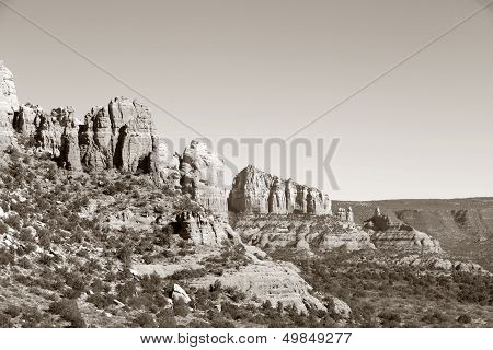 Red Rock Formations in Sedona, Arizona - Black-and-White