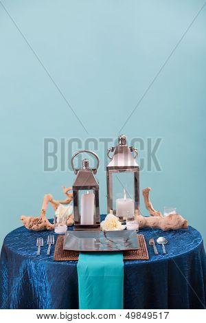 Blue Wedding Reception Table Setting