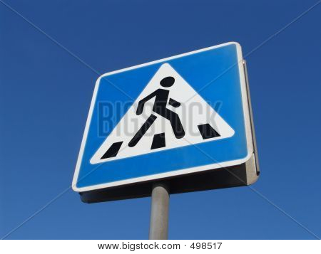 a blue road sign poster