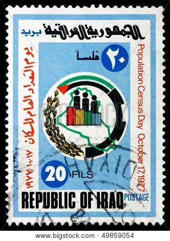Postage Stamp Iraq 1977 Census Emblem