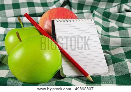 fruit and note pad