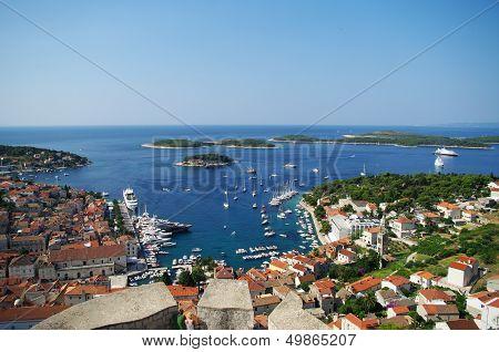 Harbor Of Old Town Hvar On Island Hvar