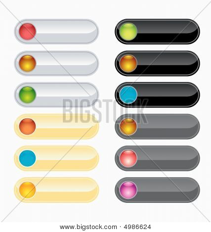 Black, Silver, Gold And Gray Web Buttons