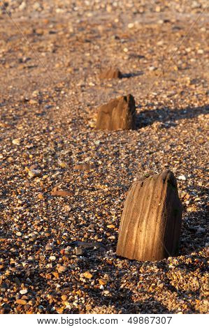 Abandoned Posts On A Beach