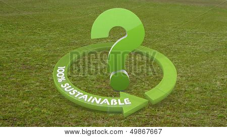 3D Graphic Of A Environmental Question Sign  On Grass