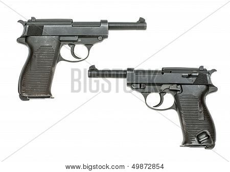German pistol Model 1938 Walther P38 on a white background