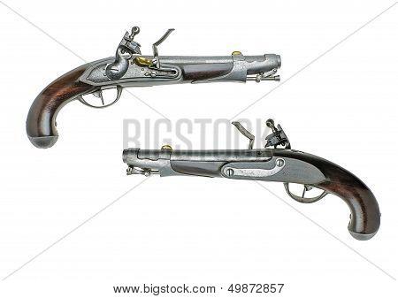 Bavarian antique flintlock pistol on a white background