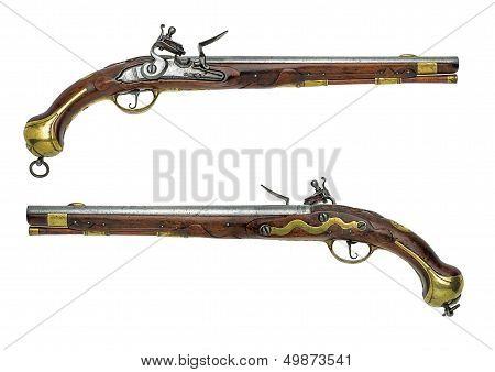 Prussian antique flintlock pistol on a white background