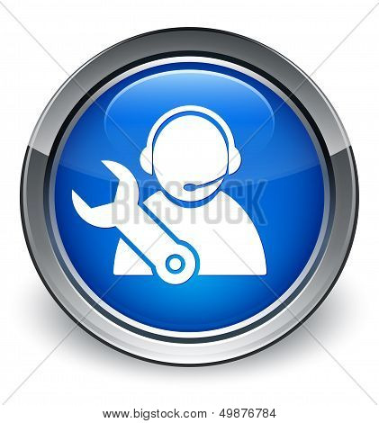 Tech Support Icon Glossy Blue Button
