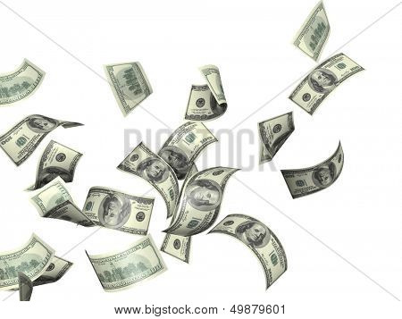 Symbol of wealth and success -  rain from dollars. Isolated over white