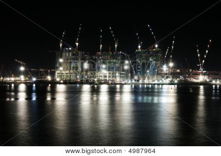 Construction At Night In Singapore