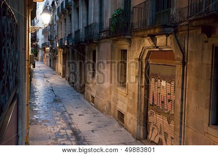 Empty alleyway in Barcelona. Spain. Carrer dels Tallers  street early in the morning.