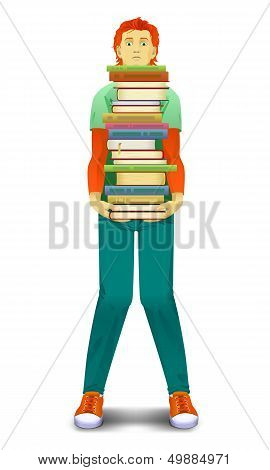 teenager holds books