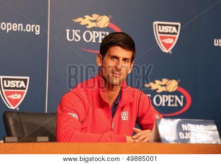 Seven times Grand Slam champion Novak Djokovic  during press conference before US Open 2013