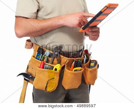 Handyman with a tool belt. Isolated on white background.