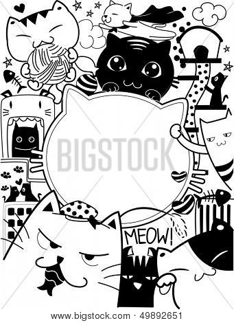 Black and White Doodle Illustration Featuring Cute Cat Antics