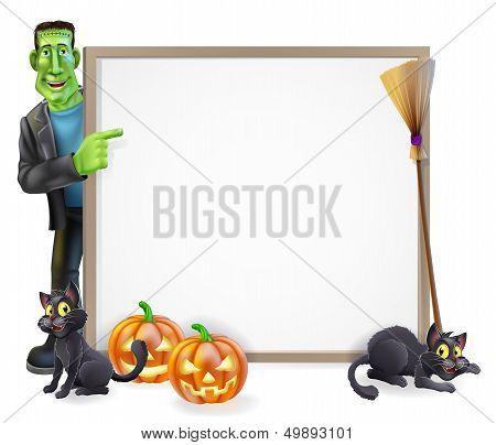 Halloween Frankenstein Sign
