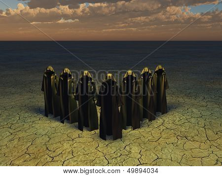 Hooded figures in barren landscape poster