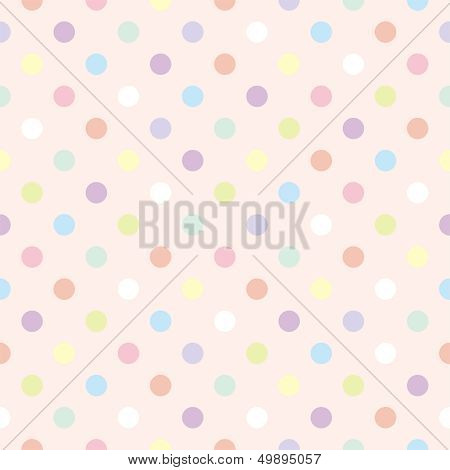 Colorful vector background with polka dots on baby pink background - retro seamless pattern